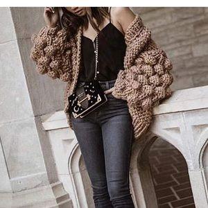Tops - Tan woven knit Pom sleeve cardigan. NWT.